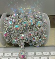 free shipping 1 yard/pack 1.9cm AB glass crystal rhinestone gold chain trims sew-on garment clothing dress bag crafts accessory