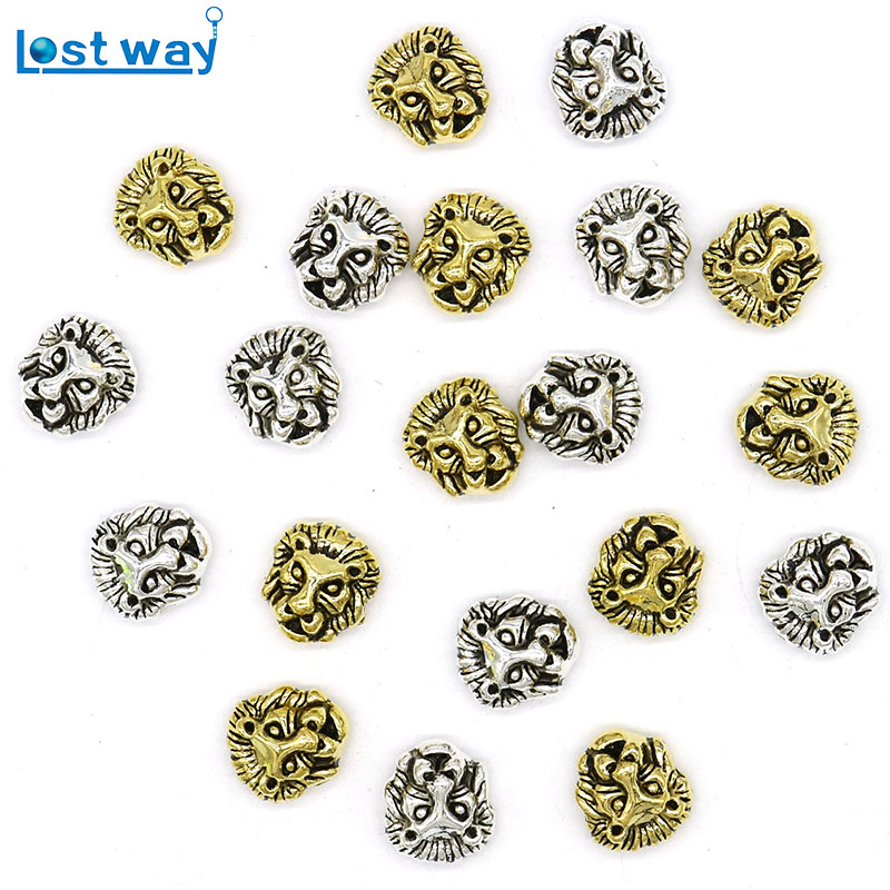 Metal Charms Lion Head Perler Antikk Sliver Plated Gull Tibetansk Sølv Leone Spacer Perle For Smykker DIY Making
