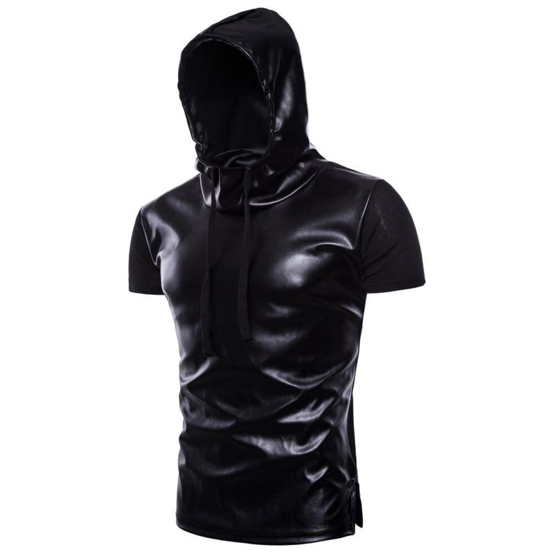 Summer Fashion tshirts Hooded PU Leather T-shirts Hip Hop Tops mens clothing t shirt shirts men short sleeve