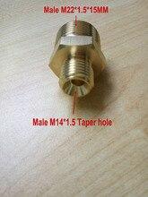 موصل خرطوم غسيل السيارات ، طرف ذكر واحد M14 * 1.5 ، ثقب مستدق ، طرف آخر ، خيط ذكر M22 * 1.5*15 مللي متر ، فتحة بقطر 15 مم ، 100% نحاسي