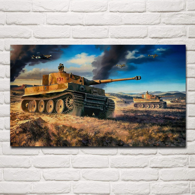 Tiger Tank fantasy living room decoration home art decor wood frame fabric poster KF446