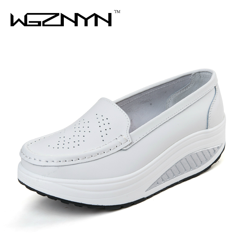 WGZNYN 2017 New Arrival Women Leather Shoes Female Woman Flats Girl Comfort Low Heels Flat Platform Shoes Loafers Zapatos Mujer 2016 new arrival woman flats genuine leather white women casual shoes platform hot sale designer flat shoes drop shipping