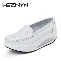 WGZNYN 2017 New Arrival Women Leather Shoes Female Woman Flats Girl Comfort Low Heels Flat Platform