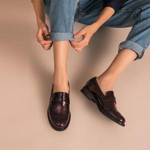 Image 2 - Beautodayペニーローファー女性本物の牛革ラウンドトウ翼端施釉靴パテントレザーブローグフラット手作り27039