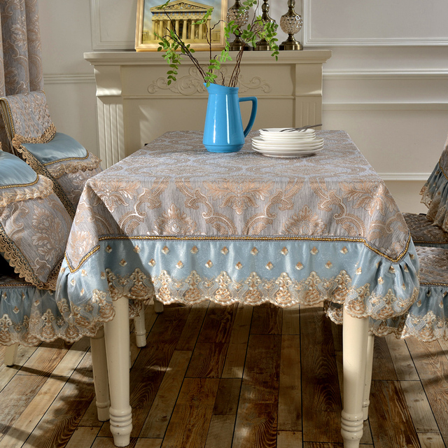 amazing design jacquard tablecloth blue yellow lace luxury festival