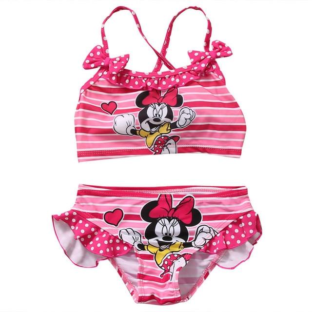 5d2a6b79e822e Minnie Mouse Baby Children Girls Swimwear Bikini Cute Cartoon Bathing Suit  Summer Beach Wear Swimsuit 2-7Years