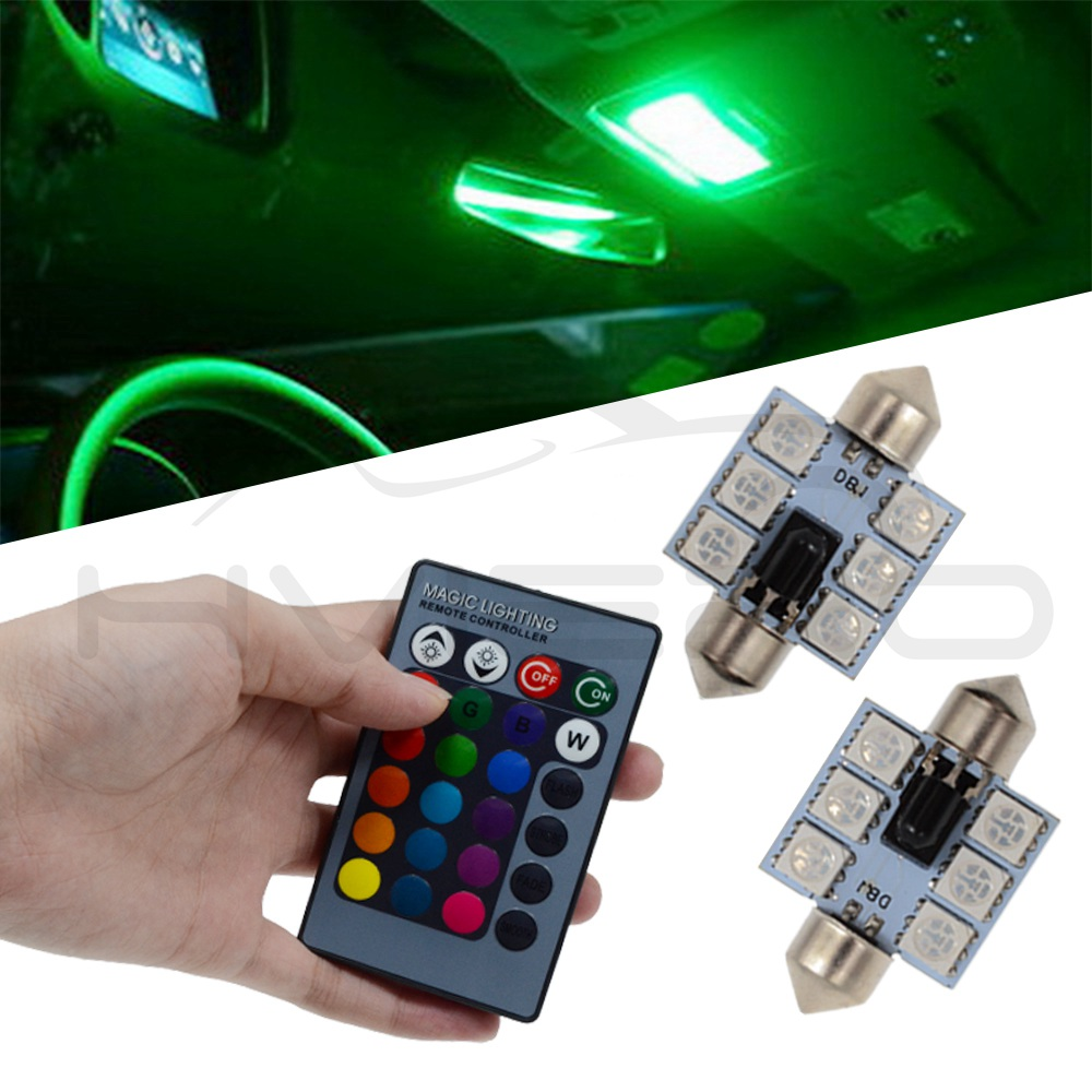 2Pcs RGB DC 12V C5w 36mm 5050 6SMD Festoon Dome Light Auto Led Mobile Remote Controlled Auto Roof Atmosphere Bulbs