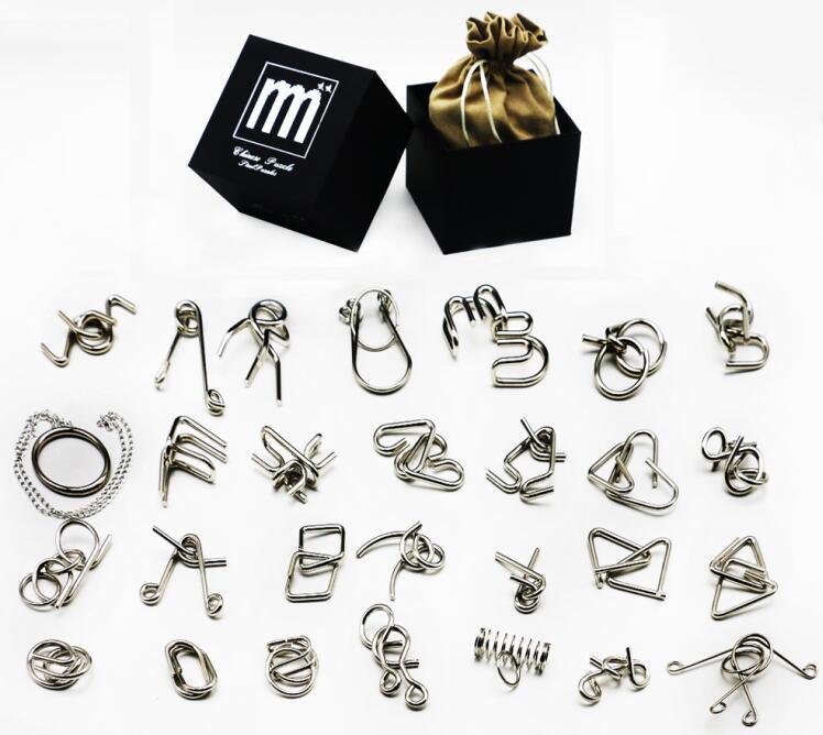 28/32PCS per Set IQ Metal Puzzle Mind Brain Teaser Magic Wirs