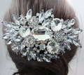 Romantic Bridal Comb Oval Clear Rhinestones Crystal Wedding Decoration Hair Accessories