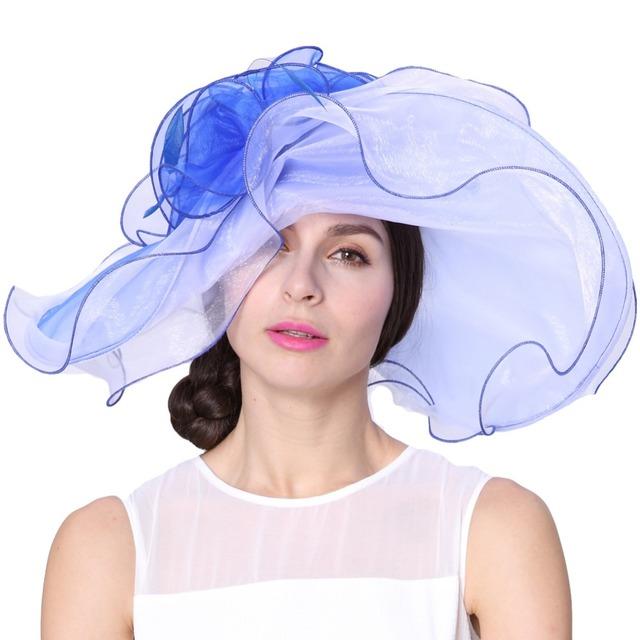 Envío gratis moda elegante nuevo sombrero del Organza de la iglesia sombrero de verano sombrero elegante moda flores vestido de boda vestido dos tonos de colores