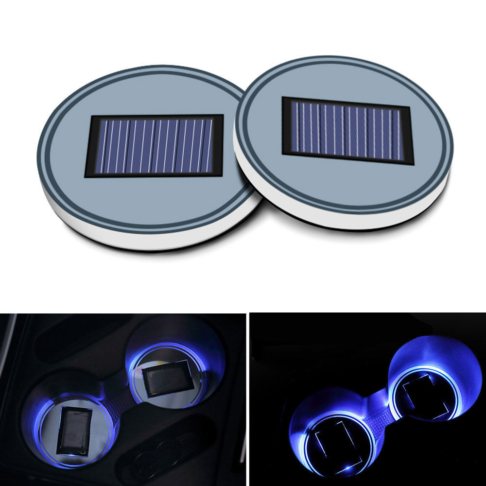 2Pcs Solar Power LED Light Car Water Cup Holder Bottom Mat Pad Cover Blue Light