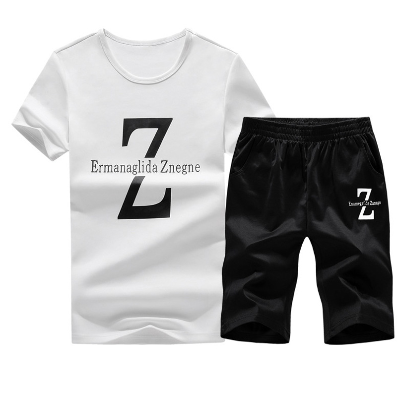 2018 Spring And Summer New Two-piece Suit For Young Men's Leisure And Fashion Letter Simple Fashion Korean Version