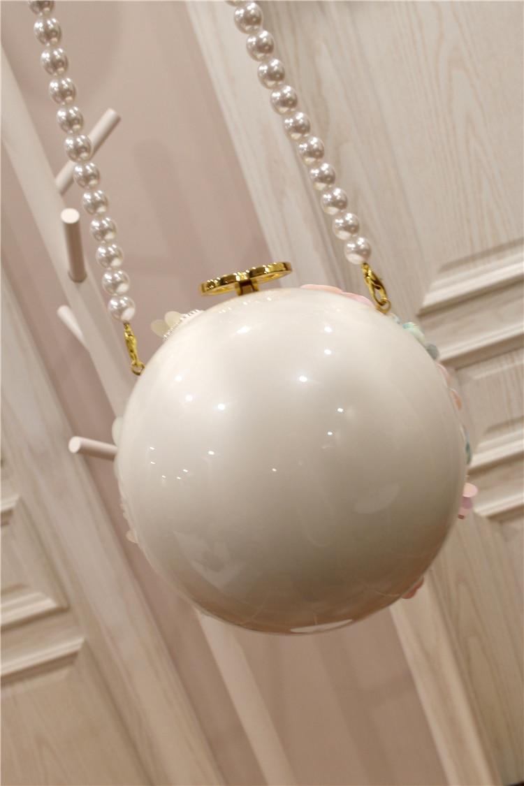Neue Frühjahr 2009 Chaozhou Mädchen Handgemachte Blume intarsien Diamant Einzelnen Schulter Hand gehalten Geneigt Perle Ball Runde Tasche - 5