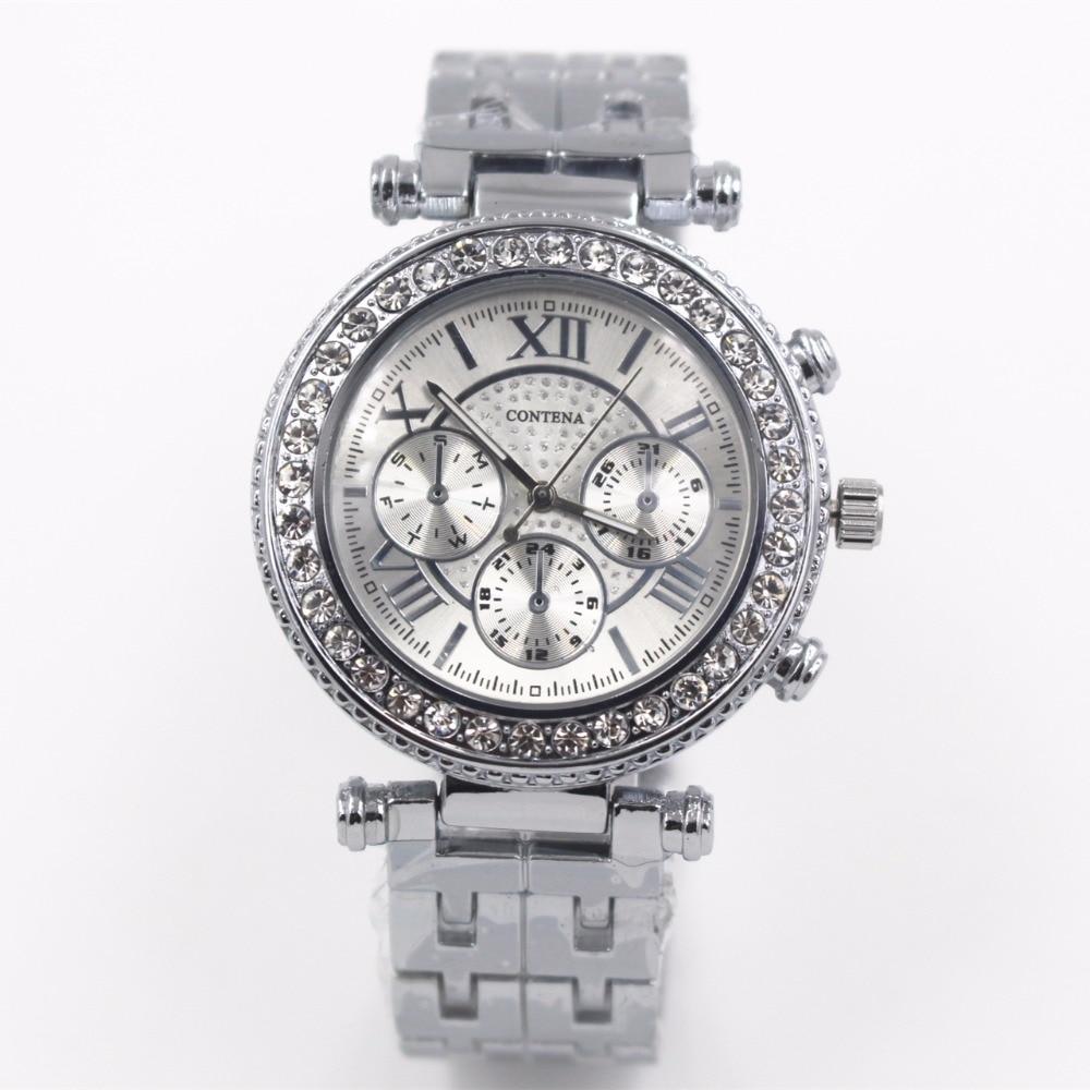 Prix pour 2017 Femmes de Casual Montres Dames De Luxe Marque Quartz-montre Femmes Strass montre-Bracelet Cadeau pour Fille Argent relogio feminino