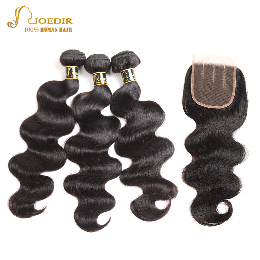 Joedir Pre Colored Malaysian Body Wave With Closure 100% Human Hair Weave 3 Bundles With Closure Lace Closure Non Remy