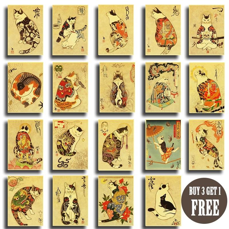 Japanese Samurai Cat Tattoo Cat Retro Poster Vintage Wall Art Printed Painting Living Room Bedroom Decor Wall Stickers