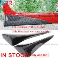 For Evolution EVO 10 V Style Carbon Fiber Side Skirt Spats Non Aero Kit (2Pcs) Accessories Body Kit