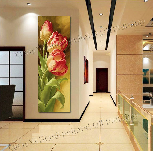 3 Panel Modern Printed Tulip Flower Painting Picture Cuadros Flowers ...
