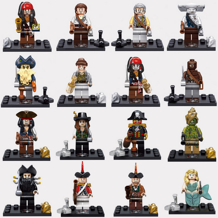 Sets Sale Pirates of the Caribbean mini dolls Captain Jack Edward Mermaid Davy Jones Black Pearl lepin Models & Building Toys kazi 608pcs pirates armada flagship building blocks brinquedos caribbean warship sets the black pearl compatible with bricks