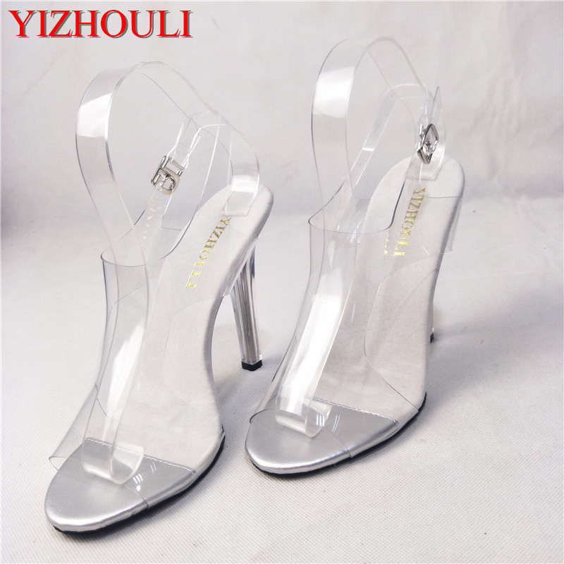 Fashionable 12CM, tall look rises the sandal of simple and comfortable, slender heel transparent tall, show shoe стоимость