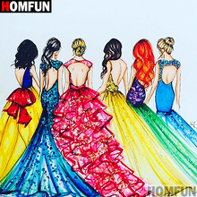 HOMFUN Full SquareRound Drill 5D DIY Diamond Painting Oil painting beauty Embroidery Cross Stitch 5D Home Decor A01822