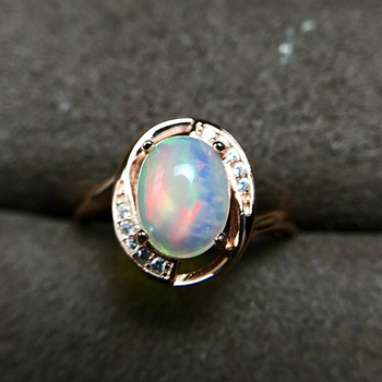 [MeiBaPJ Natural Opal Gemstone Fashion Ring for Women Real 925 Sterling Silver Charm Fine Jewelry