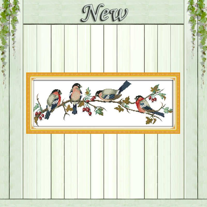 Снегири Четыре Птицы рисунок живопись, учитываются напечатаны на холсте DMC 14CT 11CT DIY вышивки крестом рукоделие комплекты Наборы для вышивания