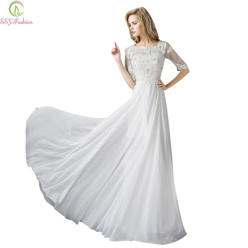 Ssyfashion Long Sleeve Wedding Dresses The Bride Elegant: Aliexpress.com : Buy SSYFashion Evening Dress White Lace