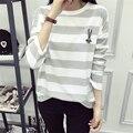 Hitz Lazer Moda Kawaii Coelho Listrado T-shirt Feminina Solto Completo Manga Bordado Fino Agasalho para As Mulheres Moletom Com Capuz Plus Size