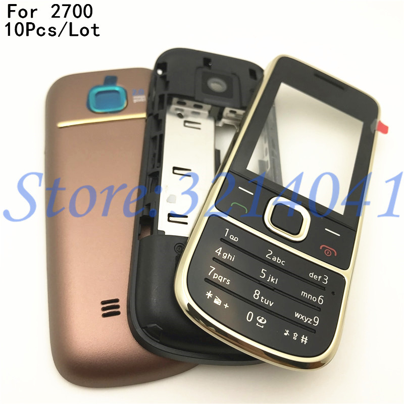 10Pcs/Lot Top Quality Full Complete Mobile Phone <font><b>Housing</b></font> Cover Case For <font><b>Nokia</b></font> <font><b>2700</b></font> 2700c With English Keypad+Logo image