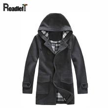 Мужской зимней одежды шерсти и нейлона смешанных длинные траншеи пальто Мужчины мода куртка ветровка костюм мужская повседневная куртка с капюшоном