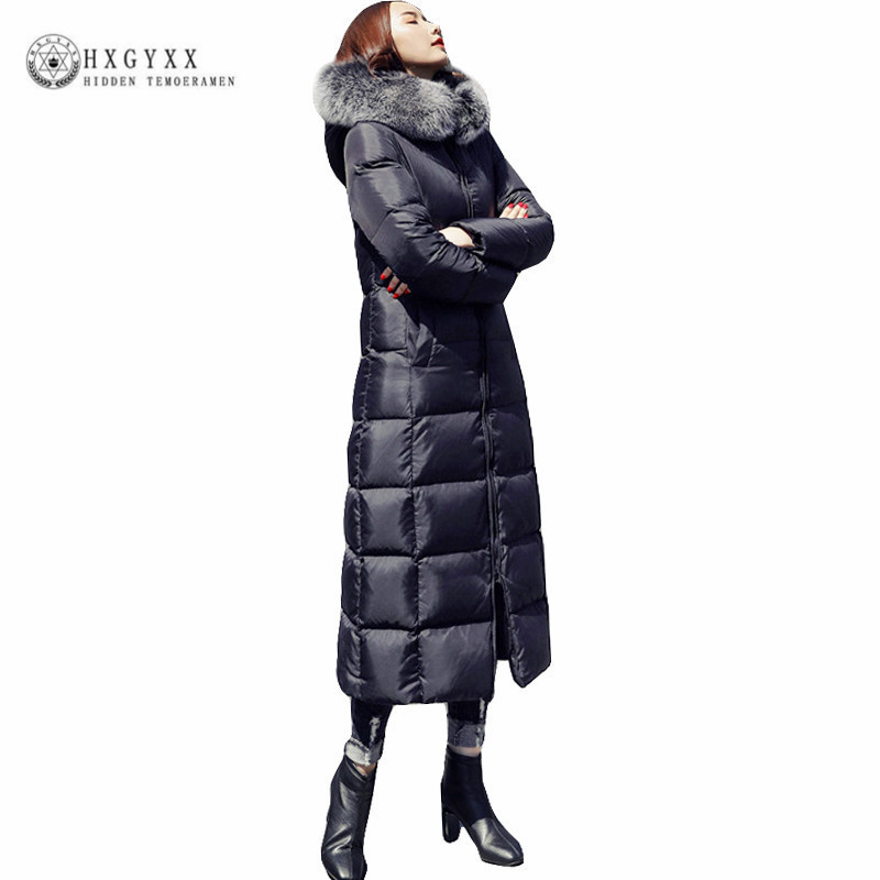 Black Long White Duck   Down   Jacket Raccoon Fur Fashion Winter Parka Thick Warm Slim Goose Feather   Coat   Woman Clothing 2019 Okd387