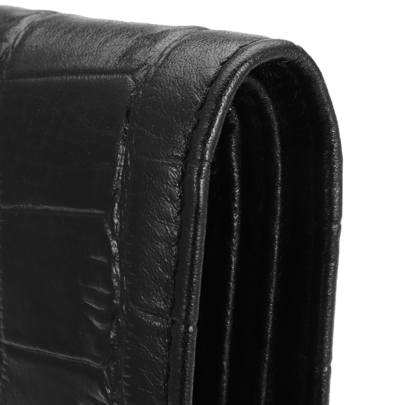 HT Genuine Leather Wallet Mens Short Purses Crocodile Wallets ID Card Holders Male Business Notecase Black Foldable Pockets