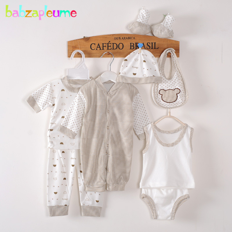 8Piece / 0-3Months / Spring Autumn Newborn Baby Tracksuit 100% Cotton Kids Clothing Suit Unisex Infant Boys Girls Clothing Set BC1002