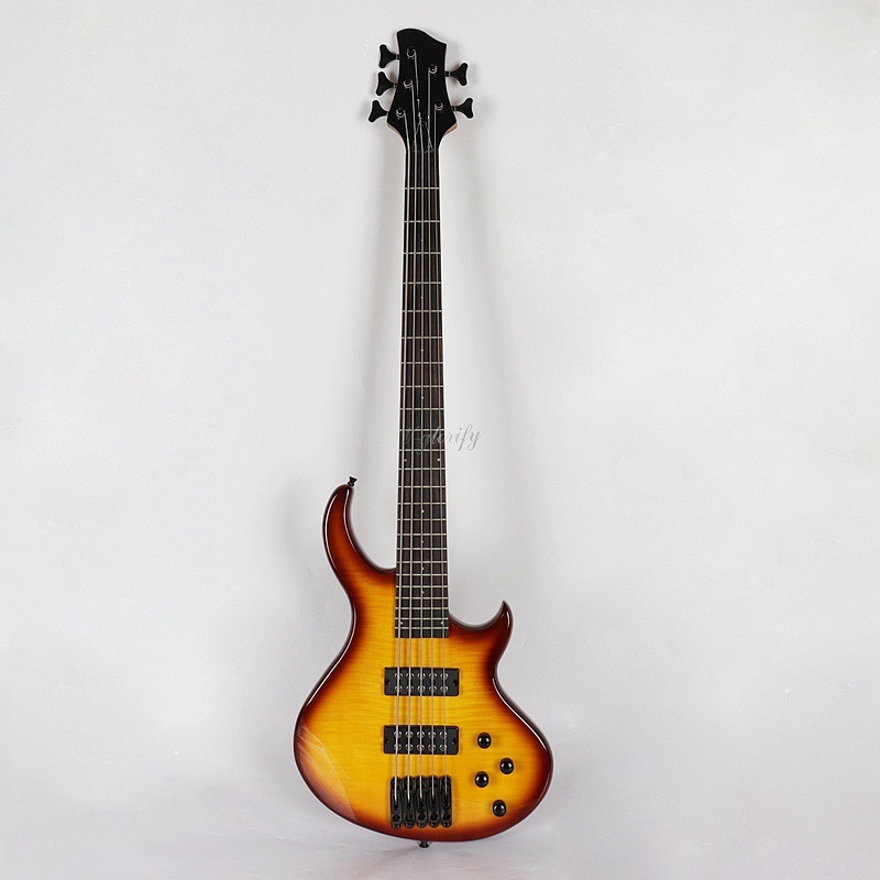 good quality maple top sunburst 5 string electric bass guitar free foam case free shipping in. Black Bedroom Furniture Sets. Home Design Ideas