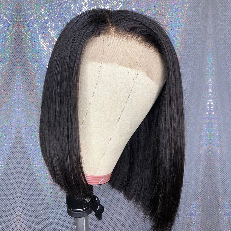 Short Bob Wigs For Black Women Brazilian Lace Front Human Hair Wigs Natural Straight Lace Frontal Wigs Pre-Plucked Bleached Knot