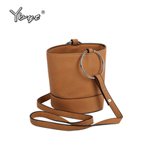 YBYT brand 2017 new vintage casual round metal handle women handbag designer ladies bucket bag shoulder messenger crossbody bags