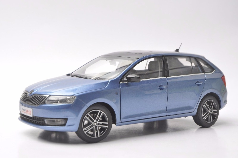1:18 Diecast Model for Skoda Rapid Spaceback 2016 Blue Alloy Toy Car Miniature Collection