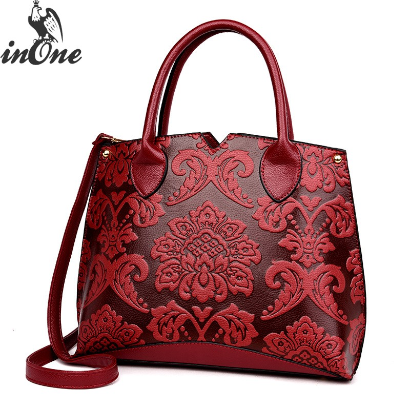 INONE Luxury Emboss Paisley Vegan Leather Tote Crossbody Shoulder Bags For Women 2019 Bolsa Feminina Cymka