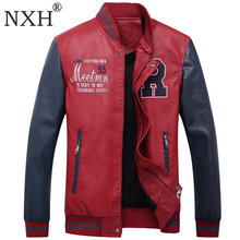 NXH Brand New Red leather jacket mens embroidery motorcycle leather jackets men Bomber PU Jeep leather mens winter coat big size(China)