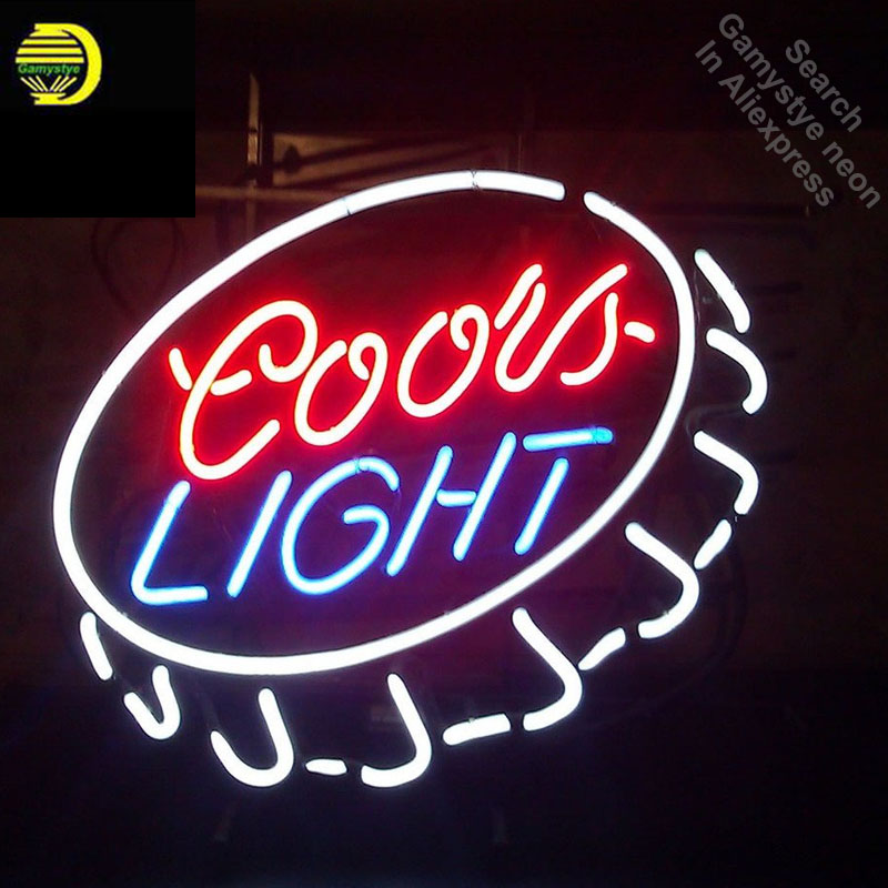 Neon Sign for Coors L ight Cap Neon Tube vintage Pup Bright sign handcraft Lamp Store Displays Great Gifts light Flashlight sign