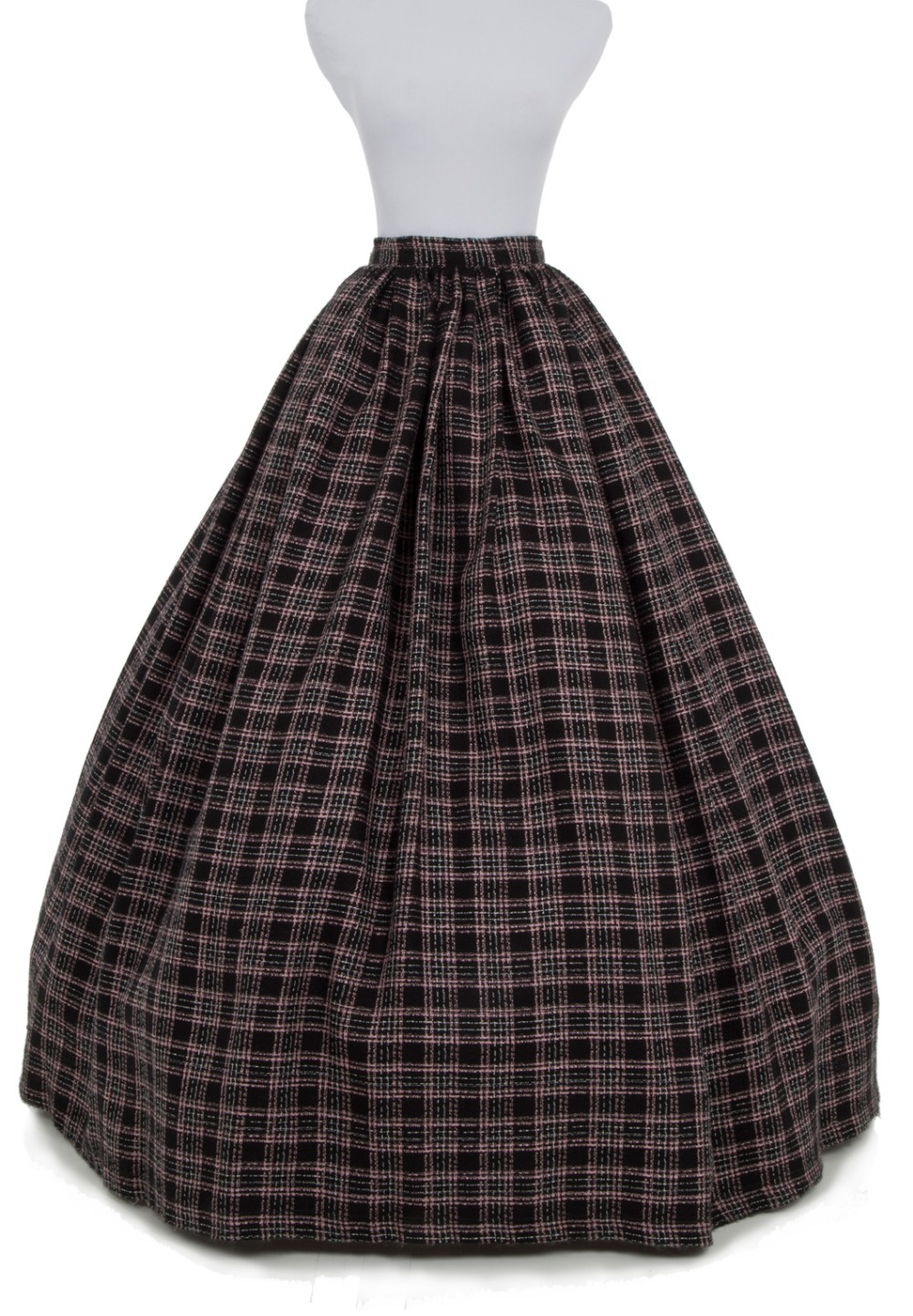 Plaid Fashion Microfiber Wool Floor-Length Shipping Long Victorian Skirts Ball Gown Skirt