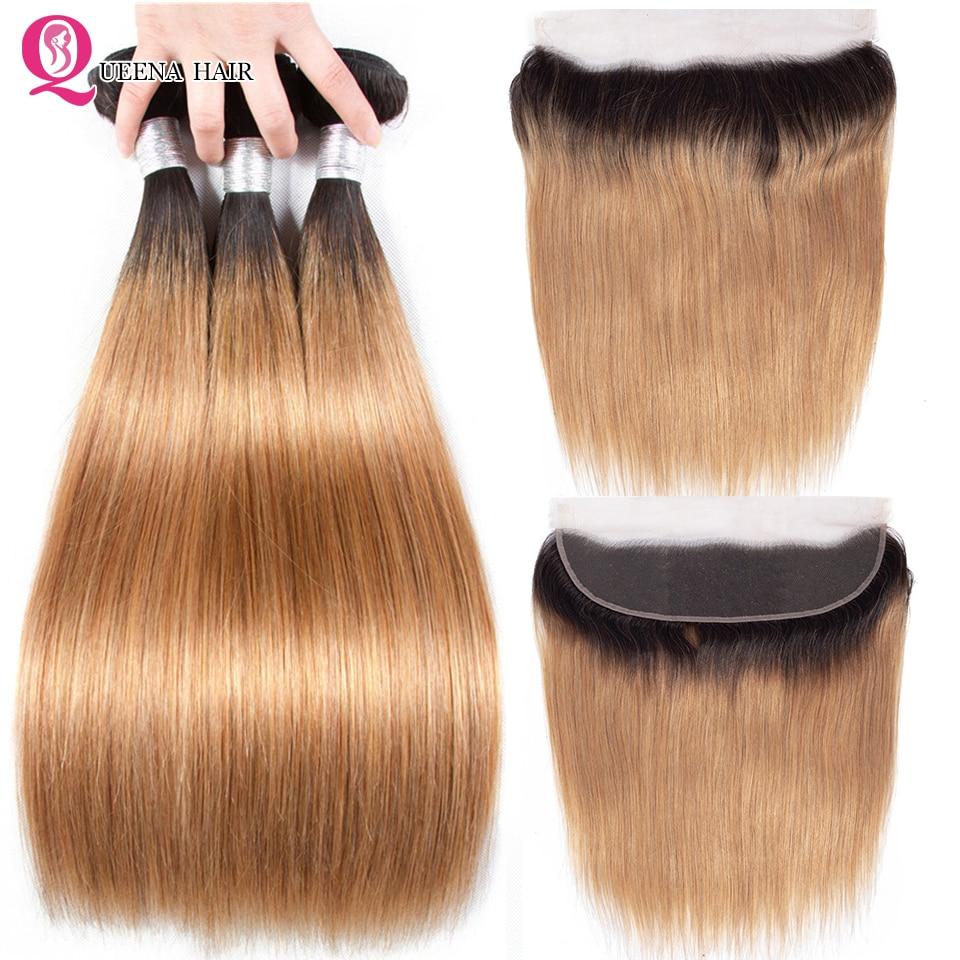 Queena Ombre Blonde Bundles With Frontal Closure 1B/27 Straight Hair Bundles With Frontal Raw Indian Hair Bundles With Frontal
