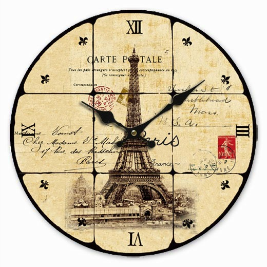 Retro Vintage Style Large Clock Paris Eiffel Tower Stamp Shabby Home ...