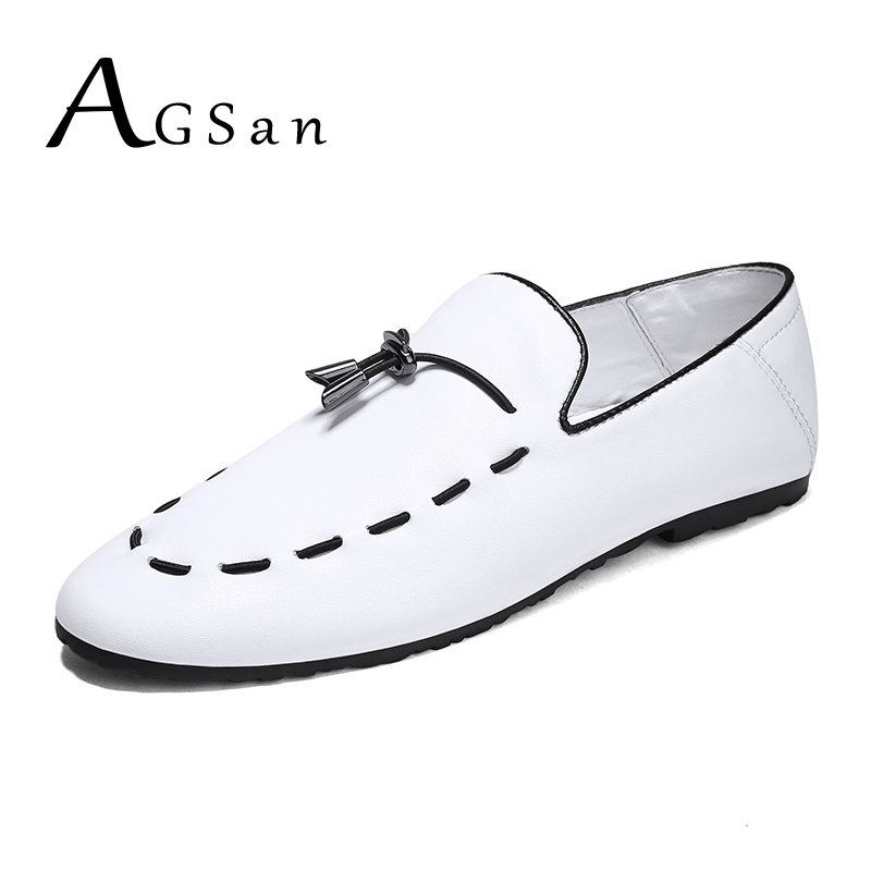 AGSan Fashion Leather Dress Casual Shoes White Black Italian Loafers Handmade Luxury Brand Mens Loafers Slip On Moccasins Hombre