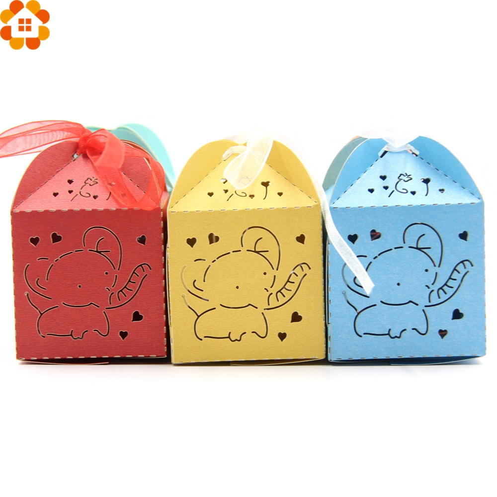 20PCS Cute Elephant Candy Box Wedding Favors DIY Paper Gift Boxes Kids Birthday/Wedding Party Decoration Baby Shower Supplies