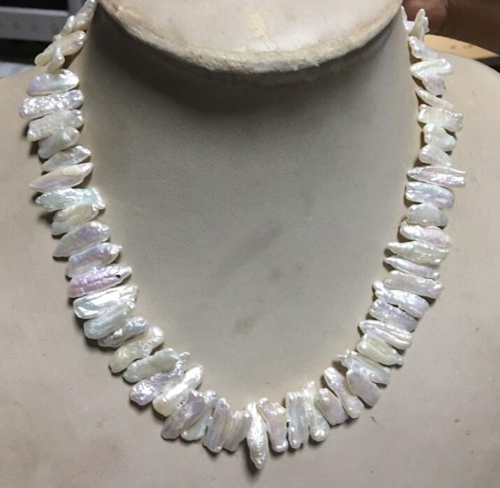 Miss charm Jew. White Freshwater Pearl Stick Necklace