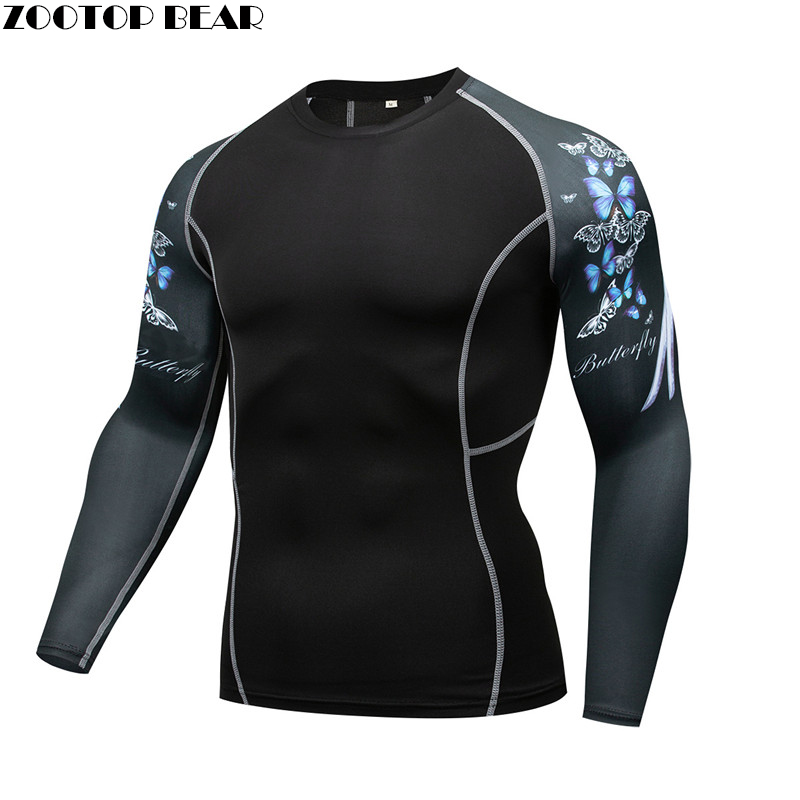 Butterfly MMA Compression T-shirt Men quick dry Elastic Base Layer Skin Tight Weight Lifting Crossfit Top Tee Rash guard Fitness