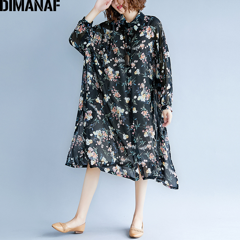 DIMANAF Women Blouse Shirt Summer Chiffon Plus Size Print Floral Thin Femme Elegant Lady Loose Tops Cardigan Sundress 2018 Black