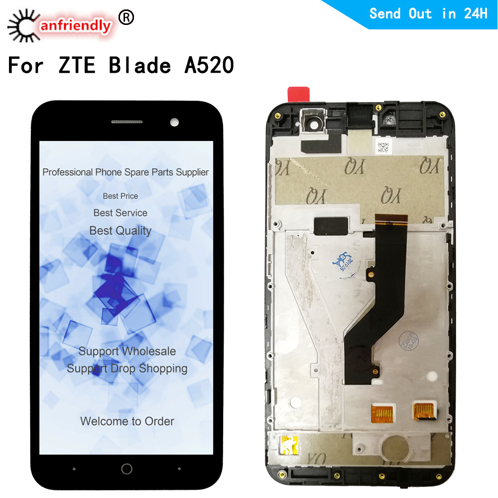 For <font><b>ZTE</b></font> <font><b>Blade</b></font> <font><b>A520</b></font> LCD Display+Touch <font><b>Screen</b></font> Replacment Digitizer with frame Assembly Phone Panel For <font><b>ZTE</b></font> <font><b>A520</b></font> A 520 display image